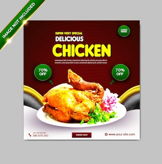 Plantilla de banner de publicación de instagram de redes sociales de pollo de comida de lujo