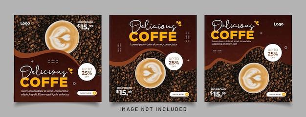 Plantilla de banner de publicación de instagram de redes sociales de promoción de bebidas de café