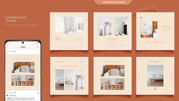 Plantilla de banner de publicación de instagram de redes sociales de promoción de muebles minimalistas