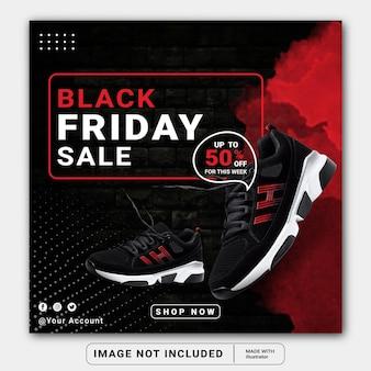 Plantilla de banner de publicación de instagram de redes sociales de venta de viernes negro o folleto cuadrado