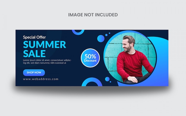 Plantilla de banner de publicación de portada de facebook de venta de verano