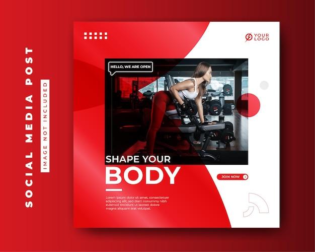 Plantilla de banner de publicación de redes sociales de concepto de fitness