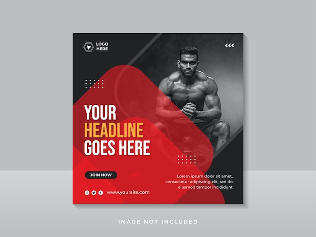 Plantilla de banner de publicación de redes sociales de gimnasio y fitness