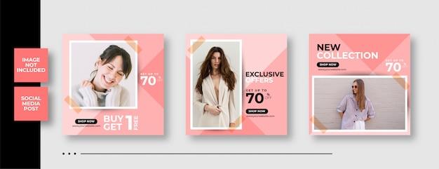 Plantilla de banner de publicación de redes sociales de instagram para moda