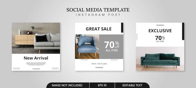 Plantilla de banner de publicación de redes sociales de muebles minimalistas