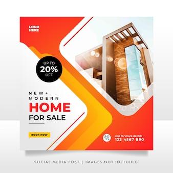 Plantilla de banner de publicación de redes sociales de venta de viviendas