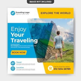 Plantilla de banner de publicación de redes sociales de viajes publicación de instagram