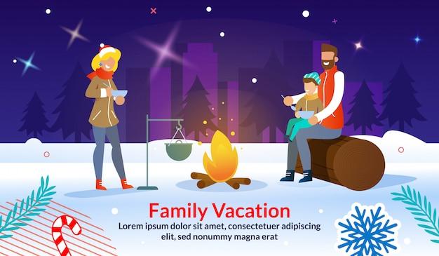 Plantilla de banner de publicidad de fiesta familiar al aire libre de navidad