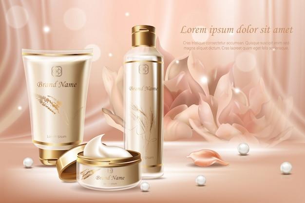 Plantilla de banner publicitario de cosméticos de extracto de perla