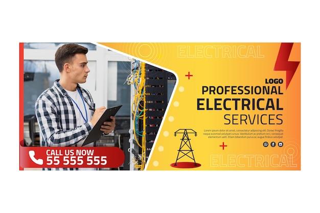 Plantilla de banner publicitario de electricista