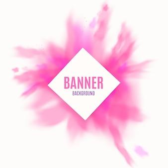 Plantilla de banner publicitario con espacio de copia en marco cuadrado y salpicaduras de pintura en polvo o tinta rosa, ilustración vectorial realista aislado.