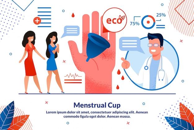 Plantilla de banner publicitario plano de copa menstrual