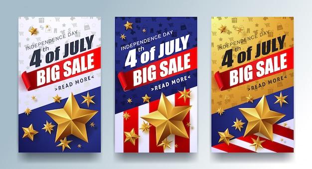 Plantilla de banner publicitario de promoción de venta del día de la independencia de ee. uu. plantilla de cartel de celebración del 4 de julio.