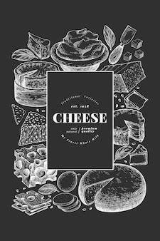 Plantilla de banner de queso dibujado a mano.