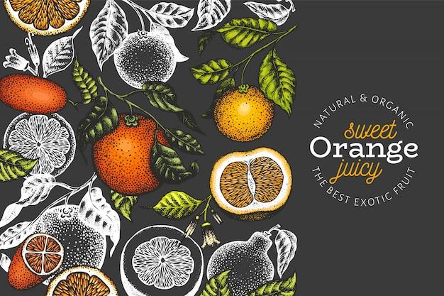 Plantilla de banner de ramas naranjas dibujadas a mano.