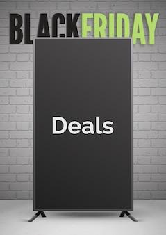 Plantilla de banner realista de anuncio de ofertas de viernes negro. pizarra 3d con tipografía sobre fondo de pared de ladrillo. diseño de cartel de publicidad de venta comercial.