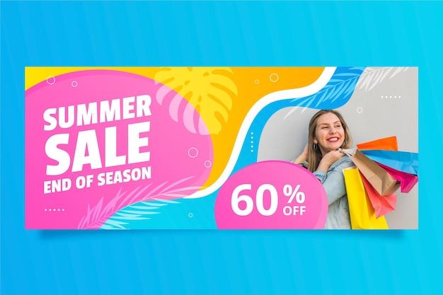 Plantilla de banner de rebajas de verano degradado con foto