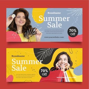 Plantilla de banner de rebajas de verano dibujado a mano con foto