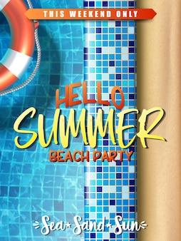 Plantilla de banner de rebajas de verano fiesta en la piscina con anillo inflable en el agua