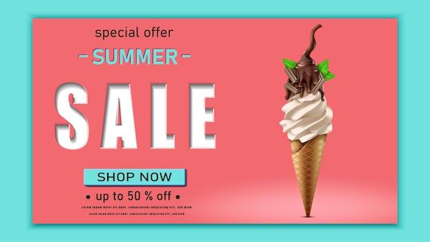 Plantilla de banner de rebajas de verano con helado de chocolate en rojo