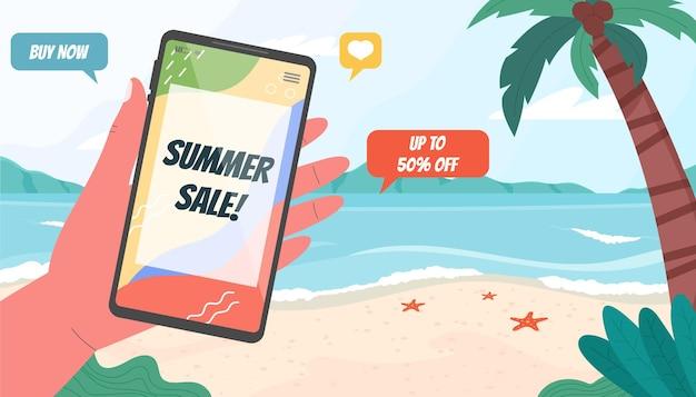 Plantilla de banner de rebajas de verano con paisaje de playa y teléfono inteligente