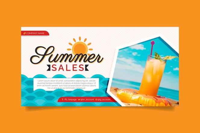 Plantilla de banner de rebajas de verano plano con foto