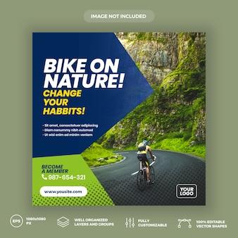 Plantilla de banner de redes sociales en bicicleta