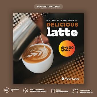 Plantilla de banner de redes sociales de cafetería