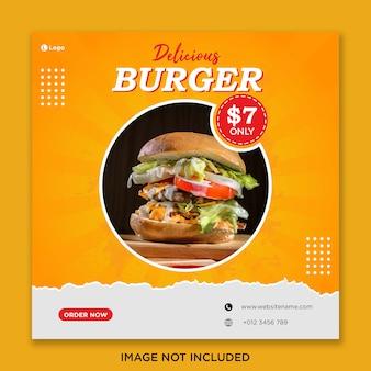 Plantilla de banner de redes sociales de comida de hamburguesa