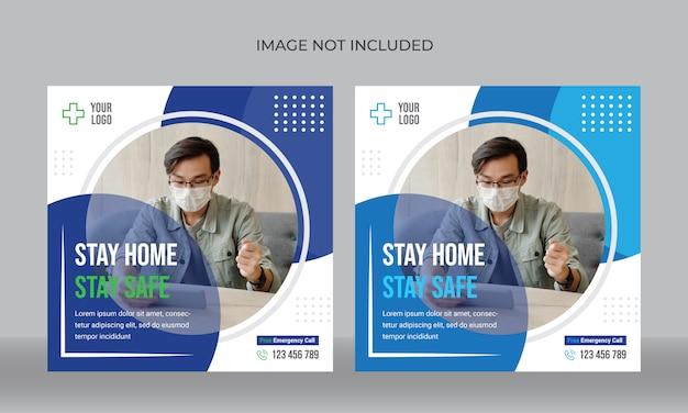 Plantilla de banner de redes sociales de coronavirus