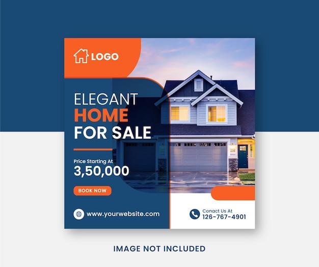 Plantilla de banner de redes sociales cuadradas de venta de casas de bienes raíces vector premium