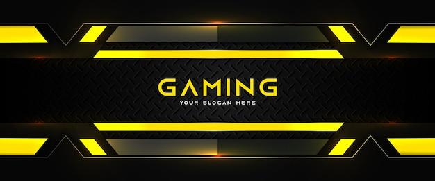 Plantilla de banner de redes sociales de encabezado de juego amarillo y negro futurista