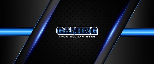 Plantilla de banner de redes sociales de encabezado de juego azul y negro futurista