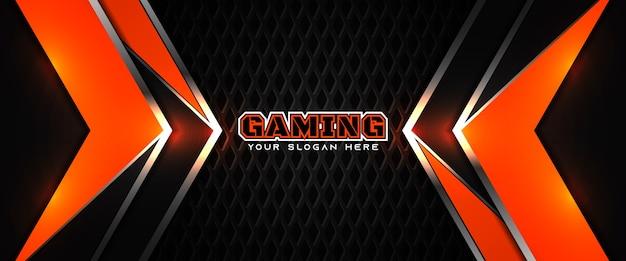Plantilla de banner de redes sociales de encabezado de juego naranja y negro futurista