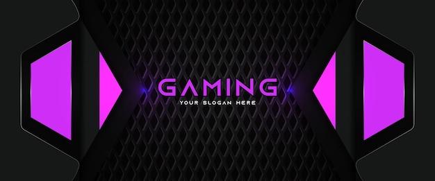 Plantilla de banner de redes sociales de encabezado de juego púrpura y negro futurista