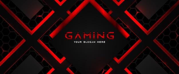 Plantilla de banner de redes sociales de encabezado de juego rojo y negro futurista