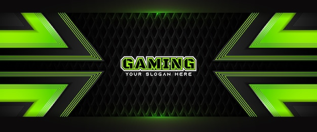 Plantilla de banner de redes sociales de encabezado de juego verde y negro futurista