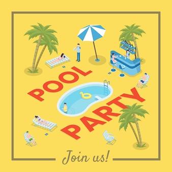 Plantilla de banner de redes sociales fiesta en la piscina. recreación activa de verano, ocio estacional.