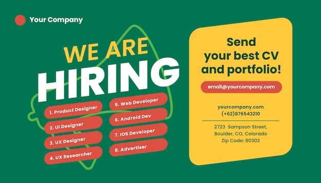 Plantilla de banner de redes sociales de trabajo de contratación. anuncio de contratación abierta.