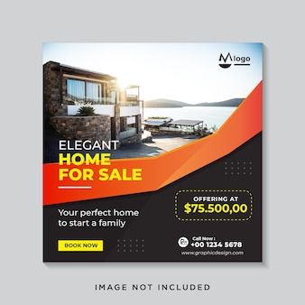 Plantilla de banner de redes sociales de venta de bienes raíces de casa moderna