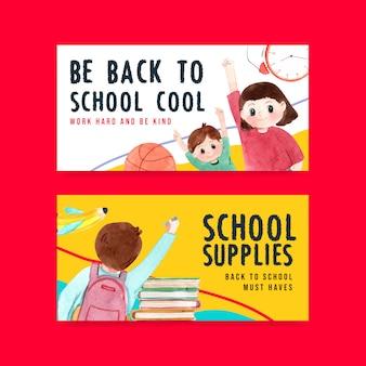 Plantilla de banner de regreso a la escuela y educación