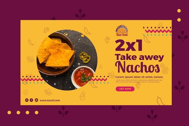 Plantilla de banner de restaurante de comida de taco