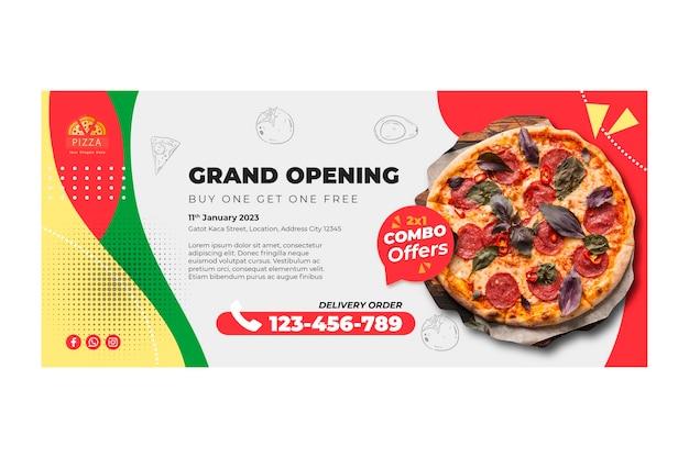 Plantilla de banner de restaurante de pizza