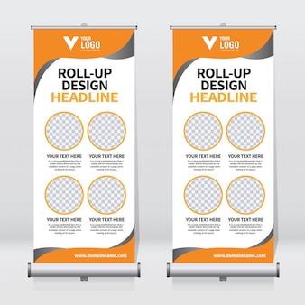 Plantilla de banner roll up empresarial