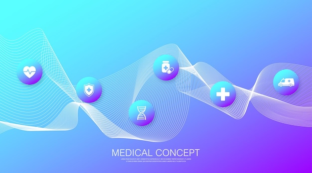Plantilla de banner de salud abstracta con iconos planos. concepto de medicina sanitaria. banner de farmacia de tecnología de innovación médica. ilustración vectorial
