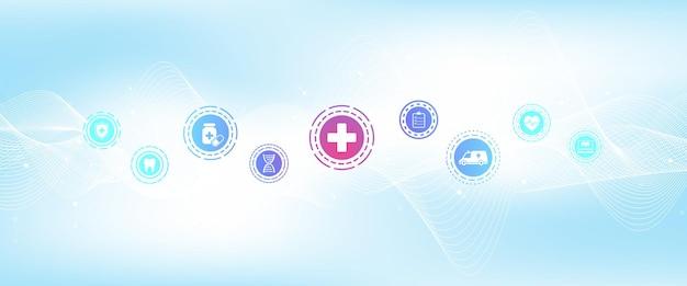 Plantilla de banner de salud abstracta con iconos planos. concepto de medicina sanitaria. banner de farmacia de tecnología de innovación médica. ilustración vectorial.