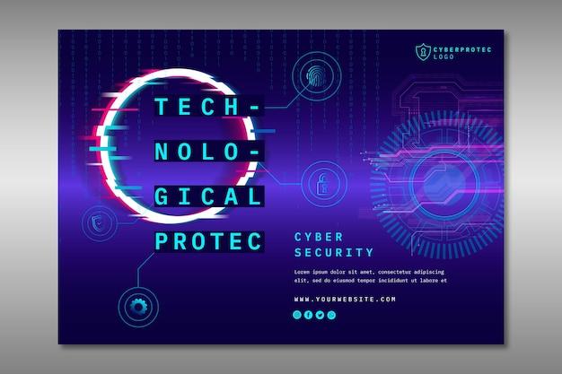 Plantilla de banner de seguridad cibernética creativa