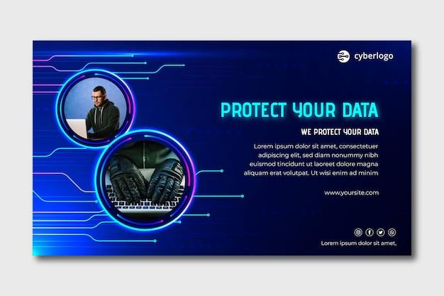 Plantilla de banner de seguridad cibernética con foto
