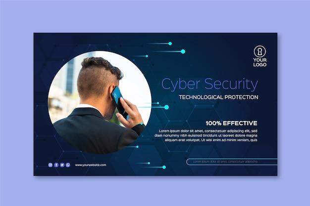 Plantilla de banner de seguridad cibernética