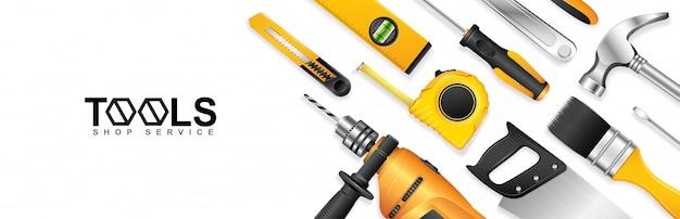 Plantilla de banner de servicio de tienda de herramientas de construcción